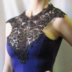 Vintage BooHoo Purple Dress Black Lace Top British